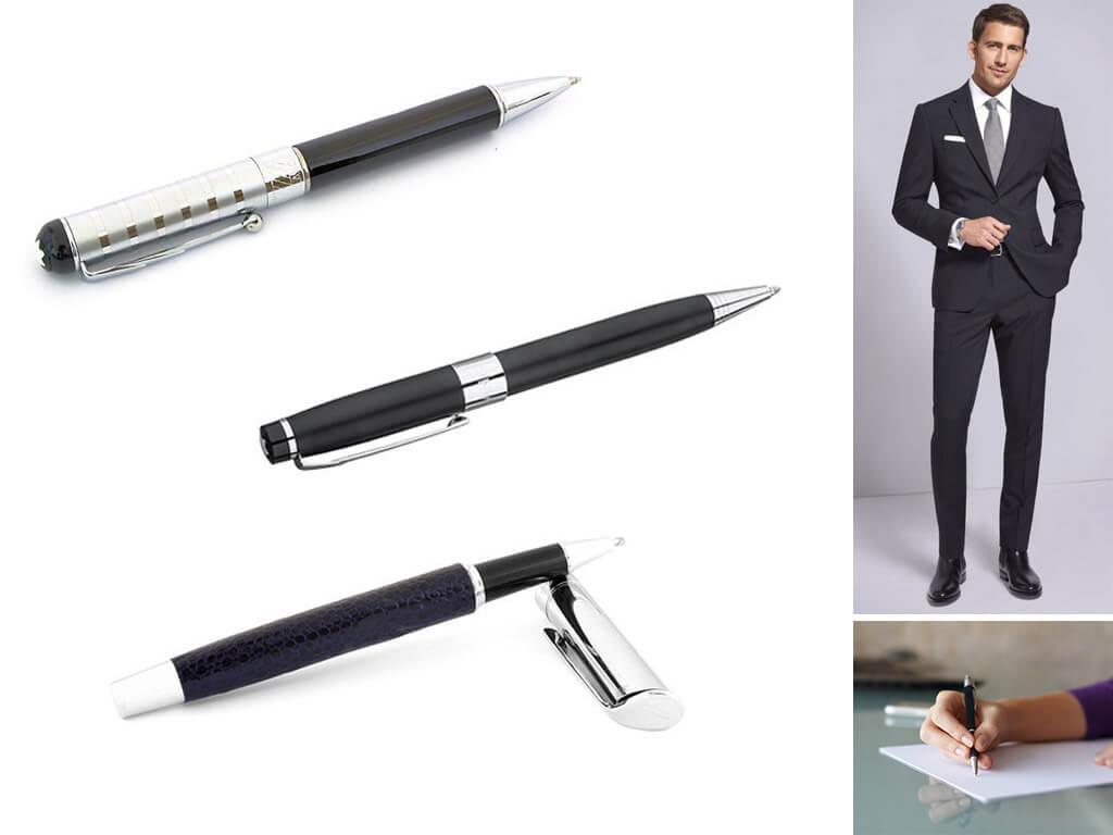 Черные глянцевые ручки мужские и женские
