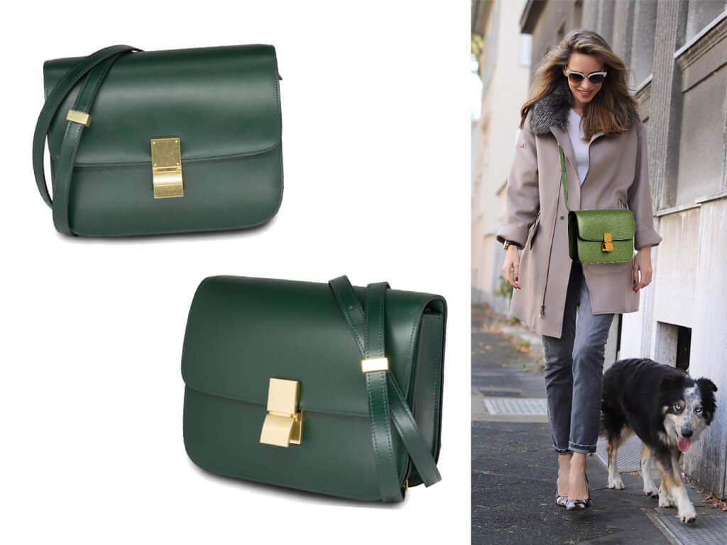 Кожаные сумки через плечо зеленого цвета