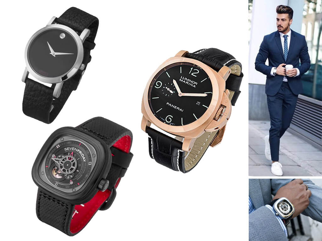 Мужские наручные часы разного диаметра