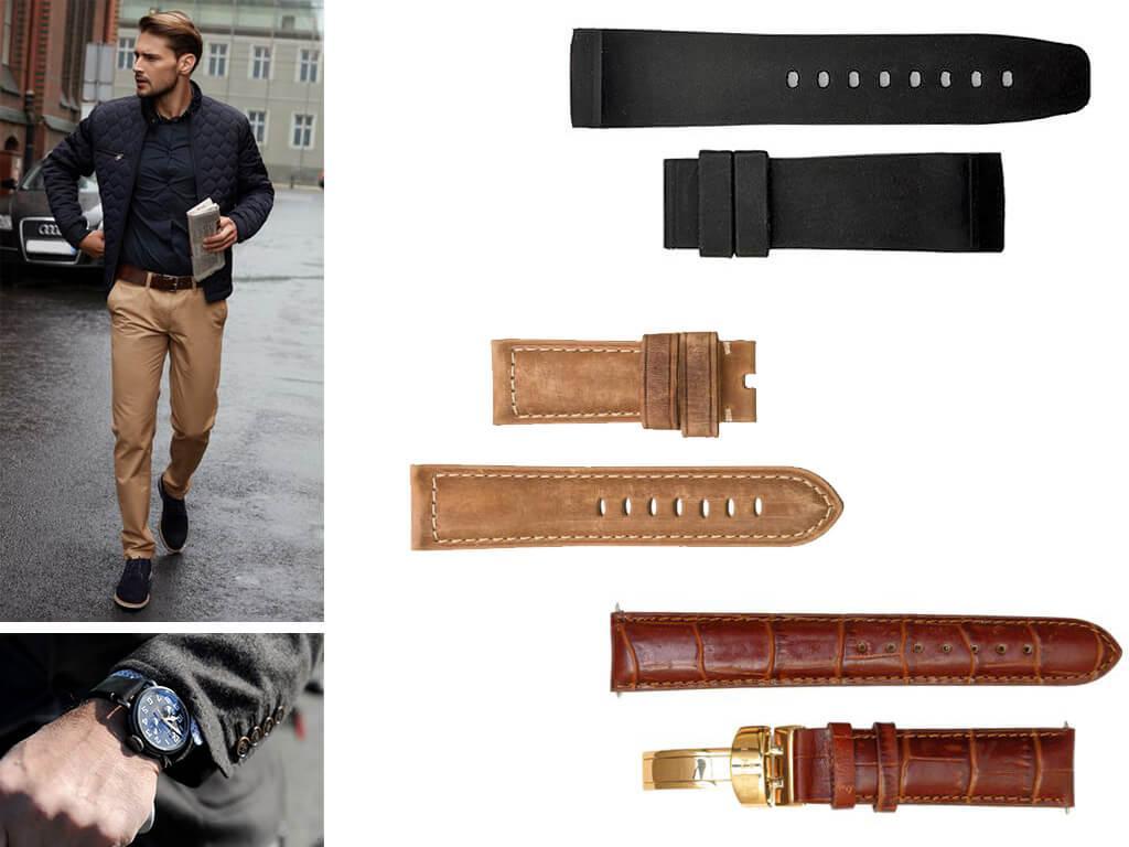 Кожаные ремешки на мужские часы Зенит