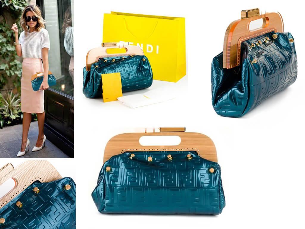 Женская кожаная сумка с фермуаром