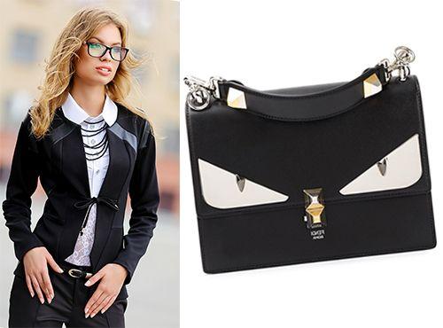 Женская деловая сумка от Fendi на коротких ручках