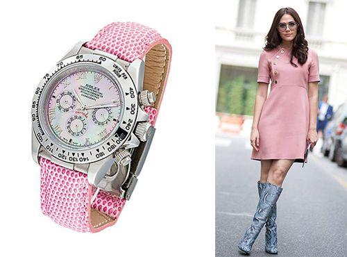 Часы Rolex с циферблатом розового цвета