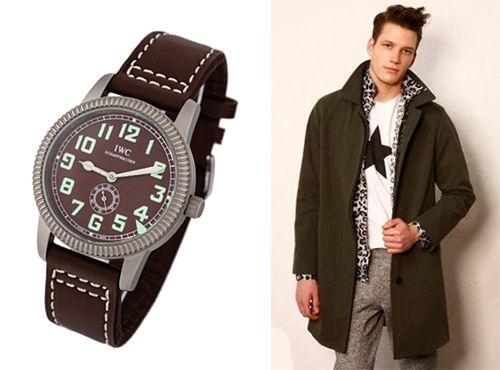 Модные часы IWC мужские с коричневым циферблатом