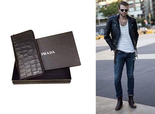 Кожаное портмоне мужское от Prada