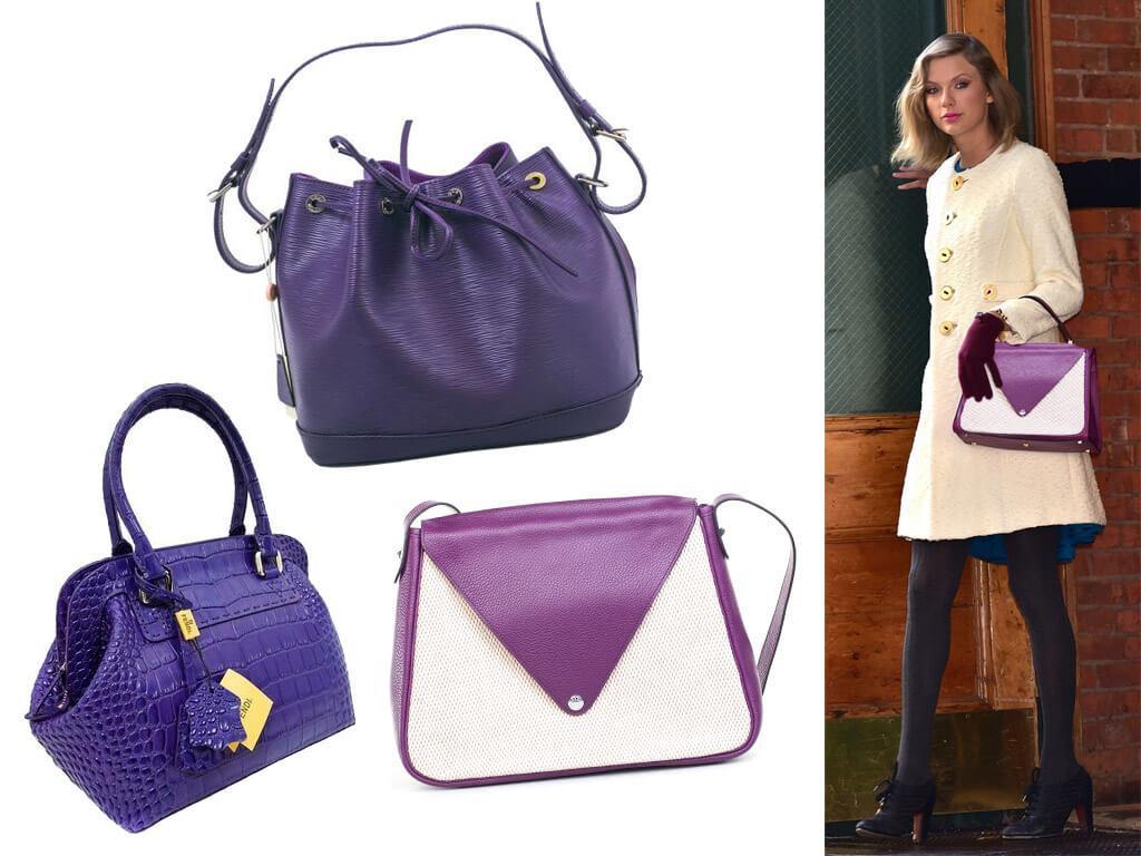 Фиолетовые сумки из кожи