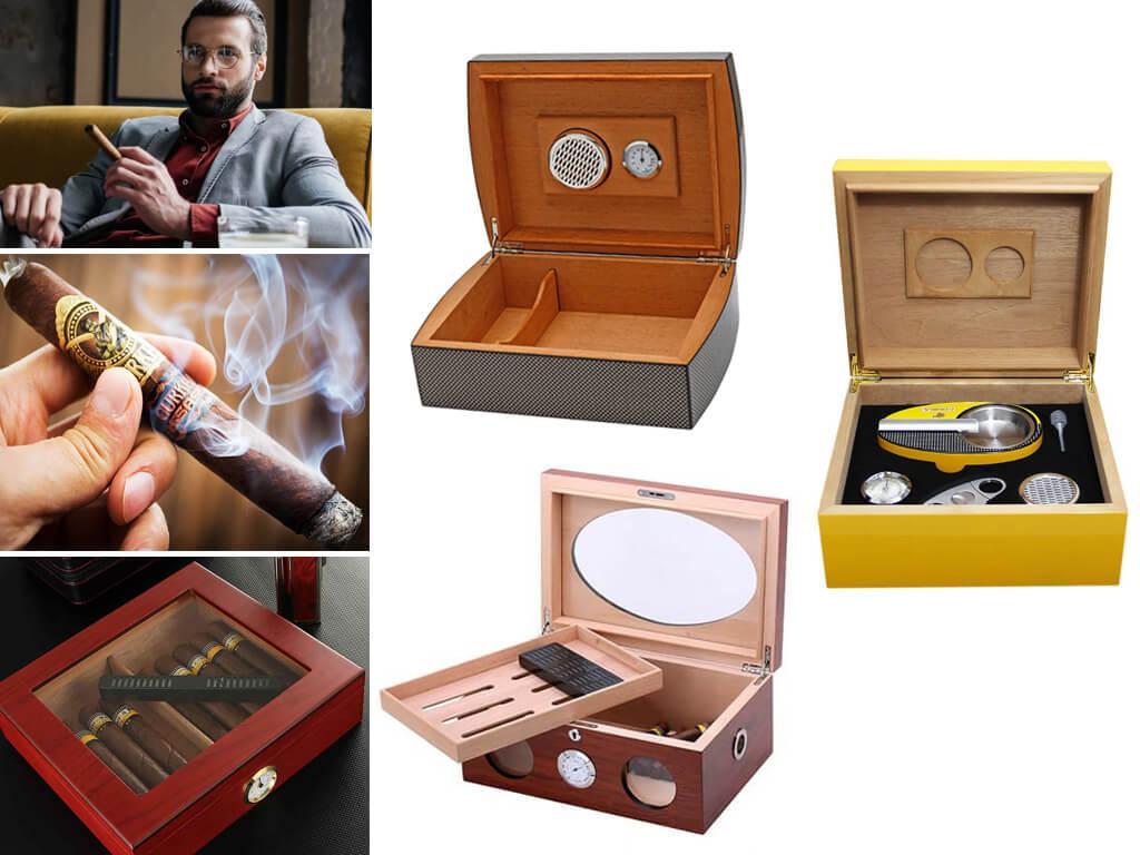 Хьюмидоры для сигар с увлажнителем и гигрометром