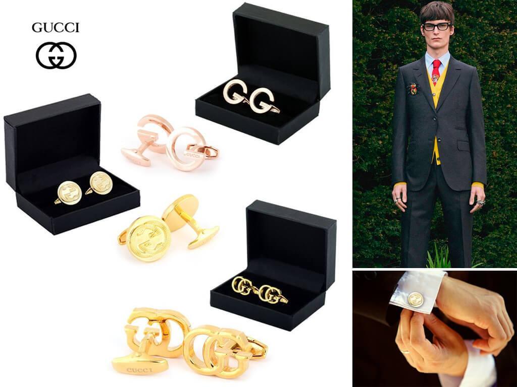 Запонки золотистого цвета от Gucci