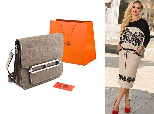 Бежевая сумка от Hermes женская