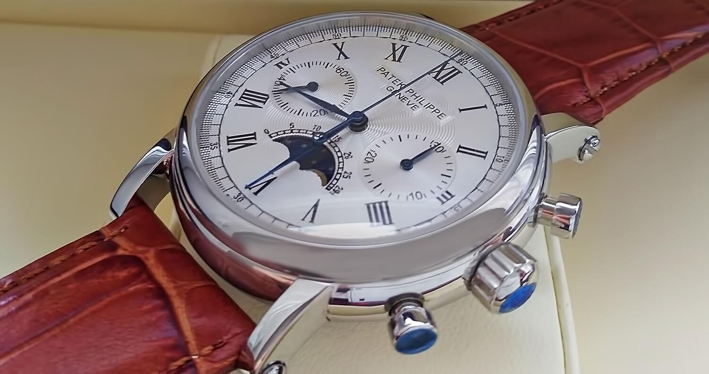 Заводная коронка и кнопки хронографа на реплике Patek Philippe