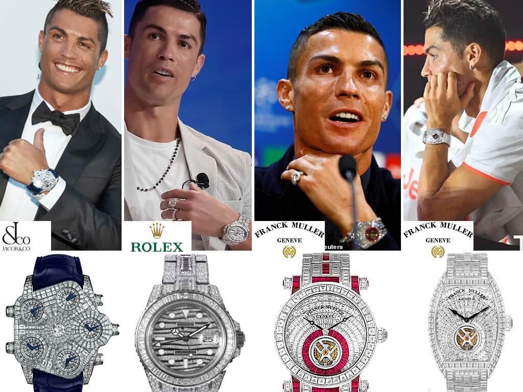 """Криштиану Роналду и его """"бриллиантовые"""" часы (Jakob & Co, Rolex, Frank Muller)"""