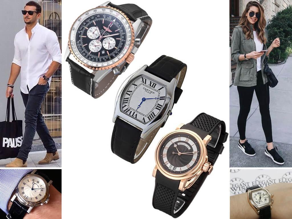 Мужские и женские часы на ремешке