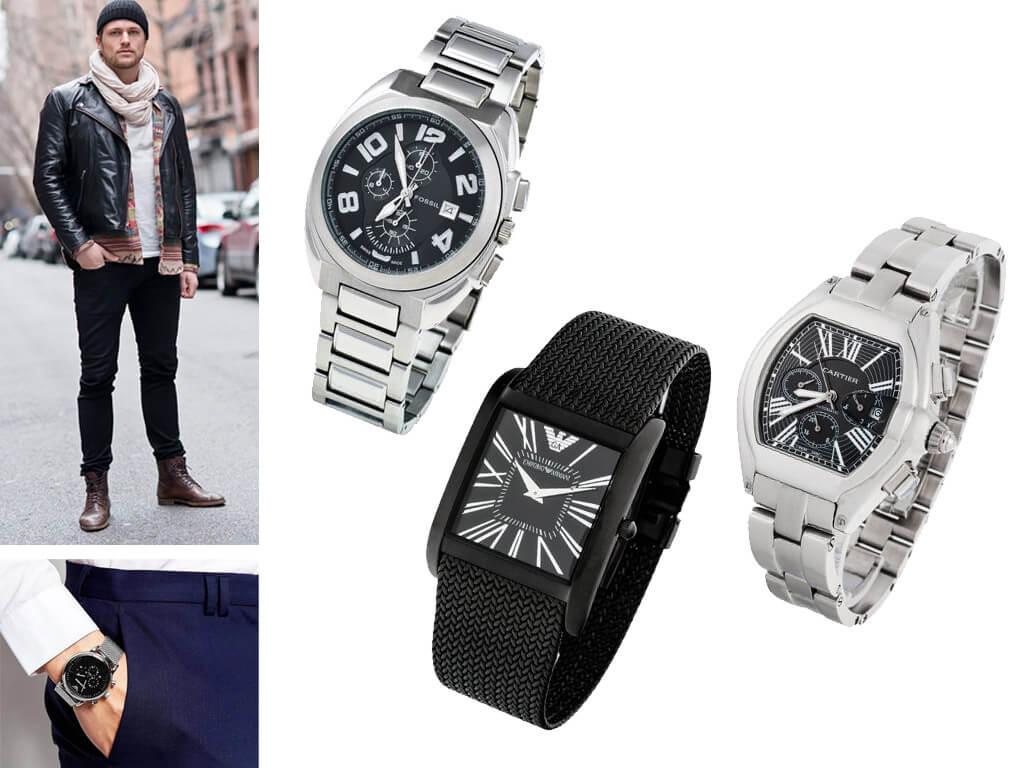 Наручные часы мужские с металлическим браслетом