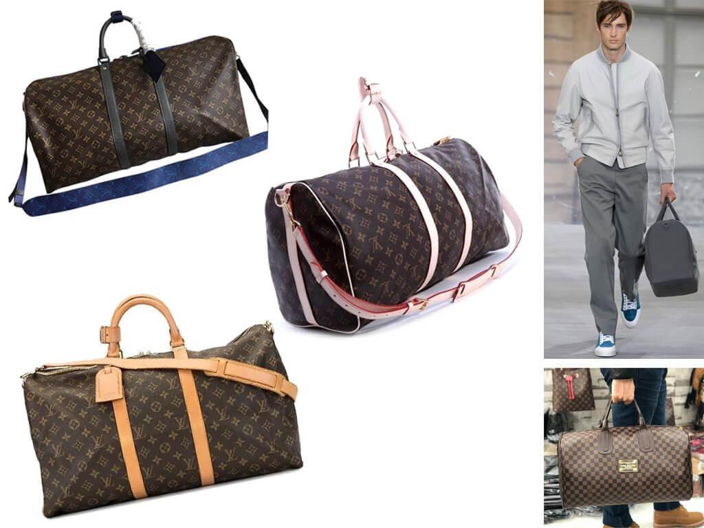 Кожаные дорожные сумки коричневого цвета