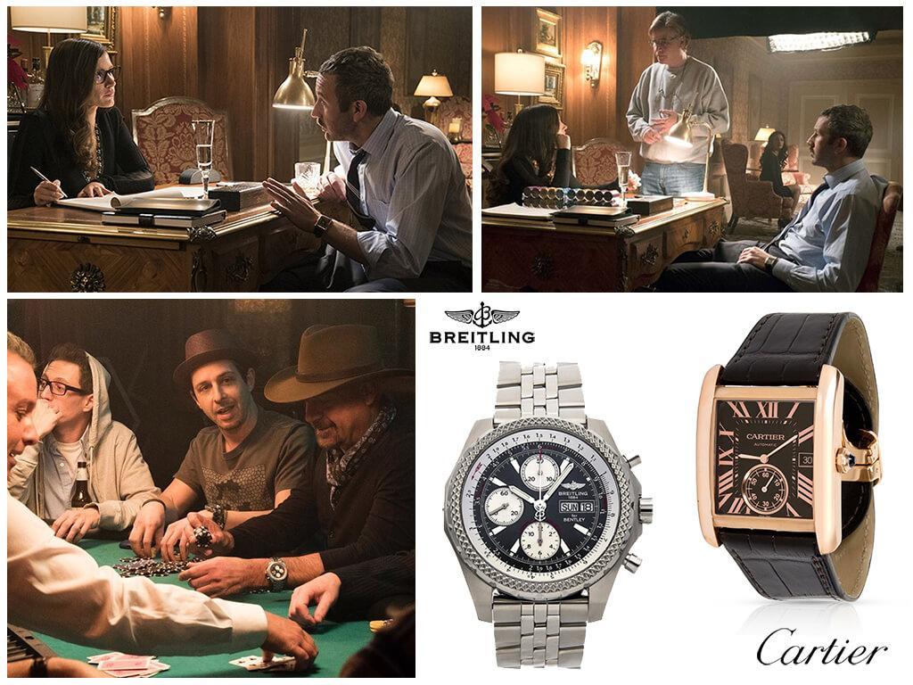 Наручные часы Cartier Tank MC Rose Gold Watch и Breitling Bentley GT в фильме Большая игра (2018)