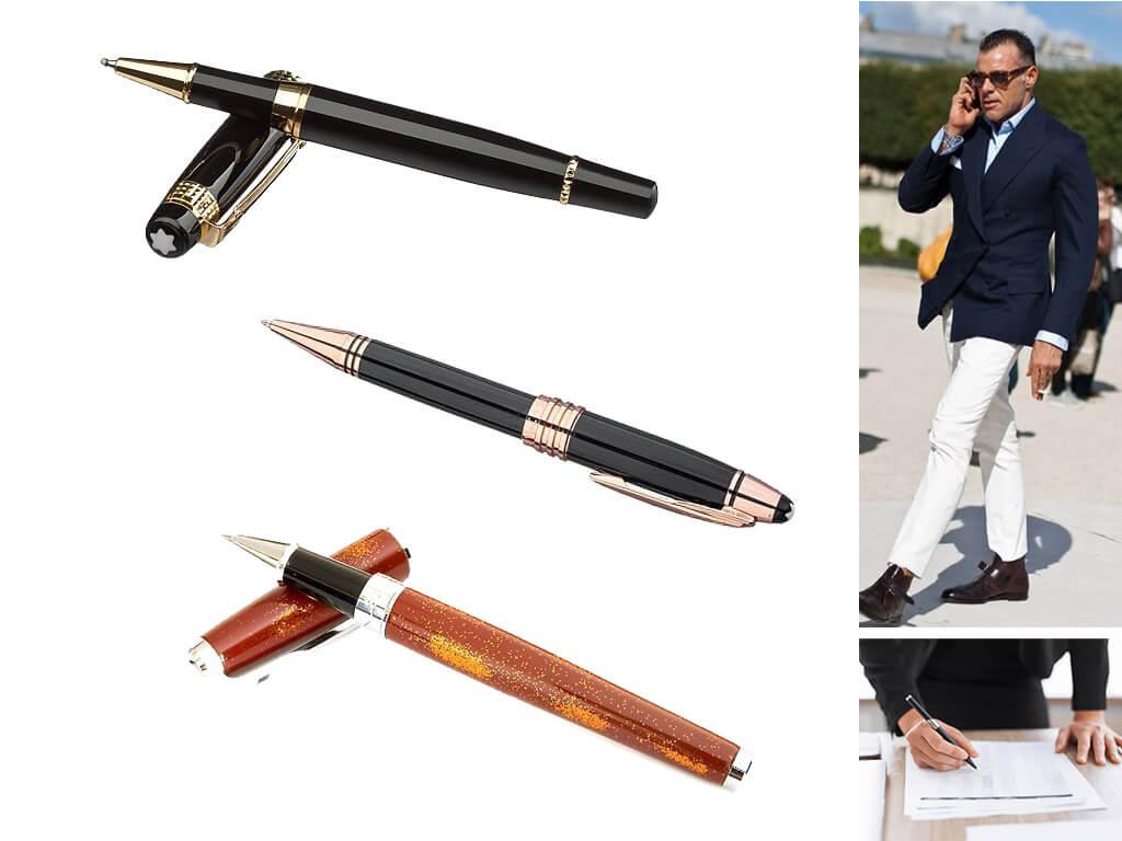 Брендовые мужские золотистые ручки