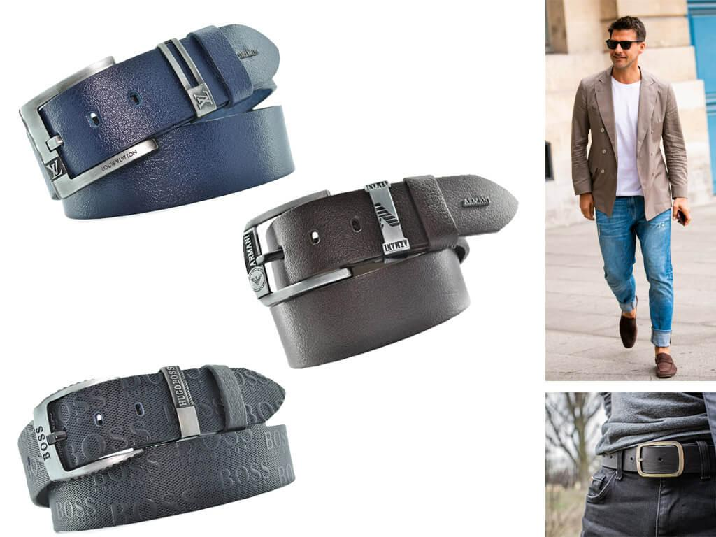 Мужские ремни для джинсов с классическими пряжками