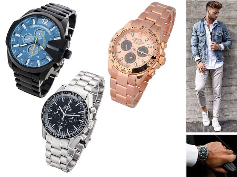 Мужские японские часы на браслете