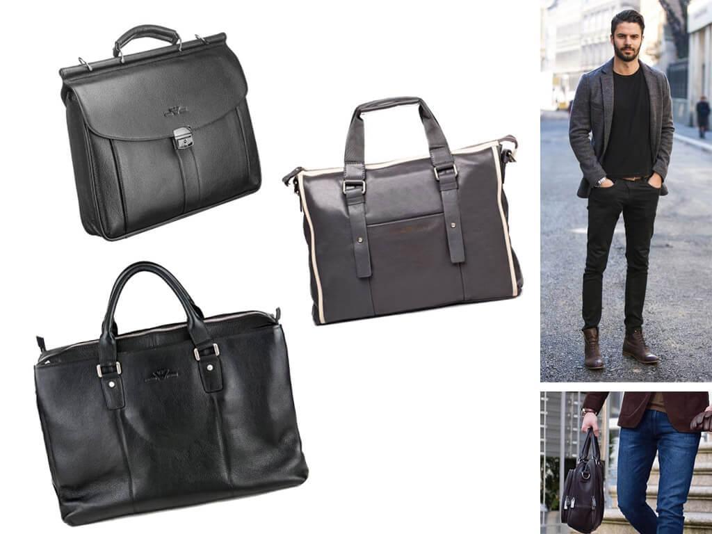 Мужские кожаные сумки Армани