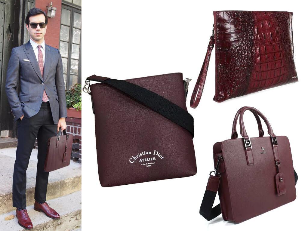 Мужские кожаные сумки бордового цвета