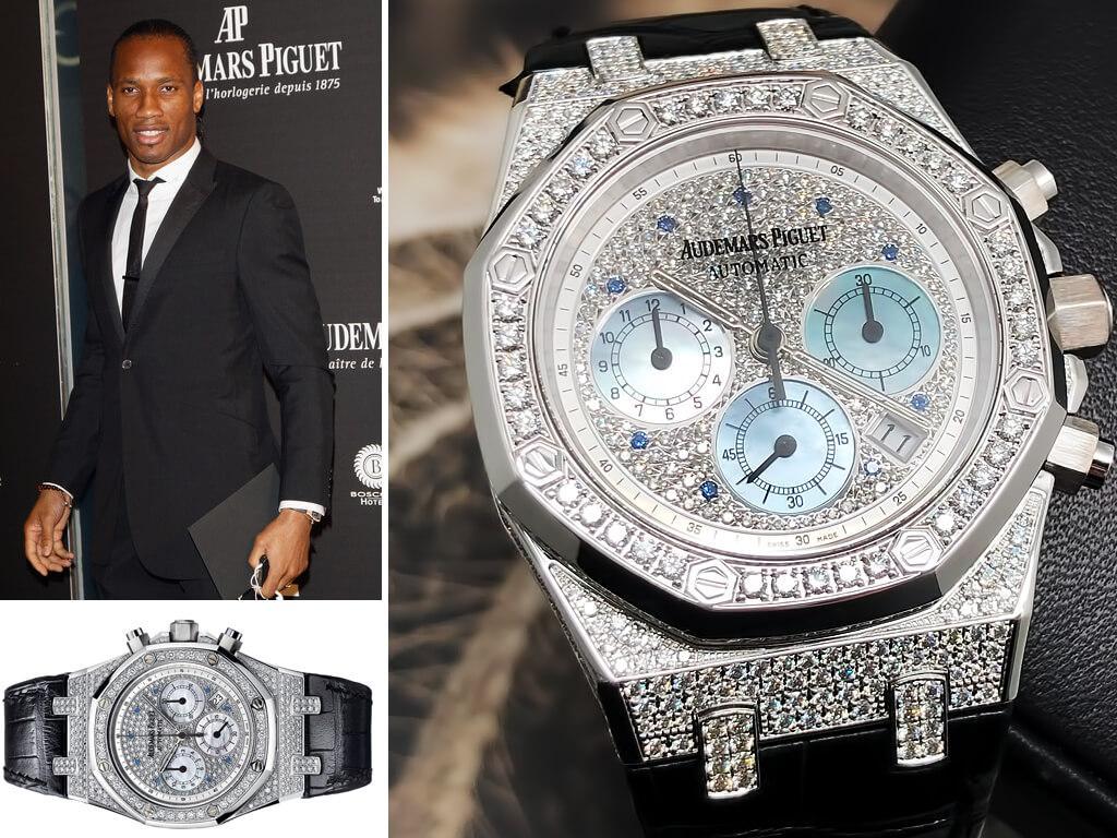 Часы Дидье Дрогба Audemars Piguet Royal Oak Chronograph White Gold & Diamonds