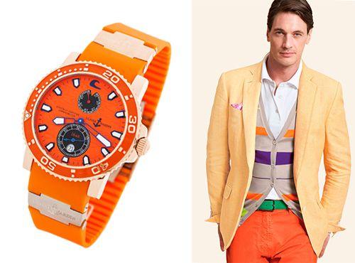 Мужские часы Ulysse Nardin с циферблатом оранжевого цвета