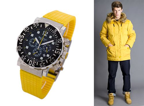Мужские часы Paul Picot желтый ремень