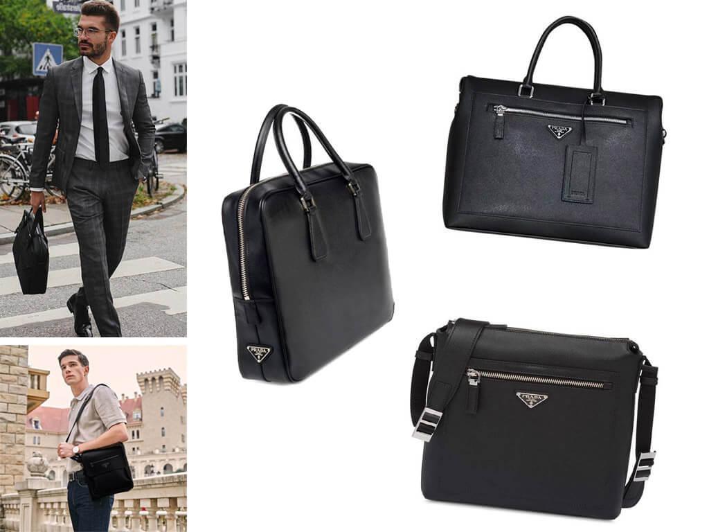 Кожаная черная сумка Прада