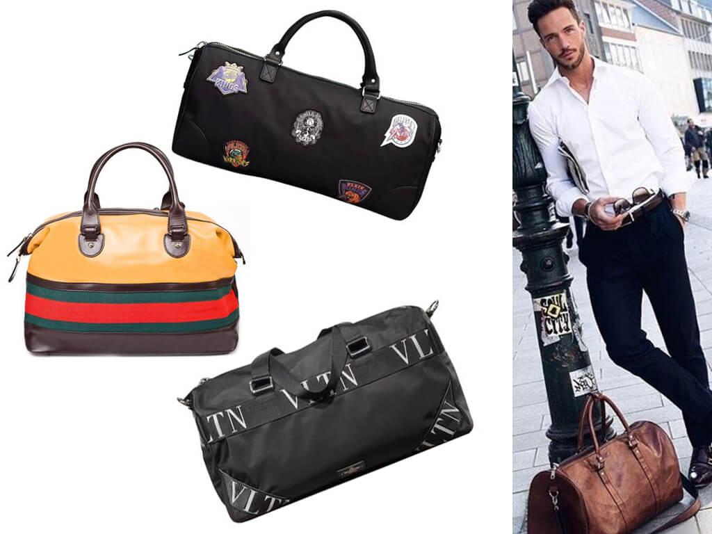 Дорожные сумки из кожи и текстиля