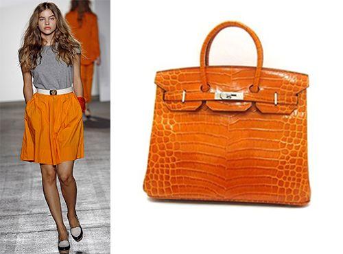 Оранжевая женская сумка Hermes