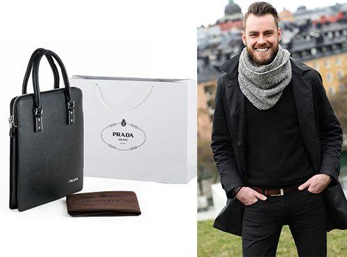 Натуральная кожаная сумка Prada для мужчины