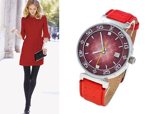 Женские часы Louis Vuitton с красным циферблатом