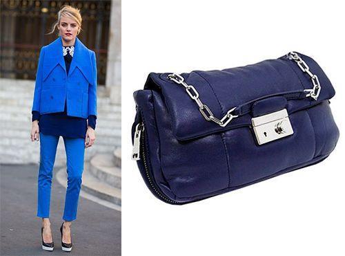 Женский клатч синего цвета от Prada