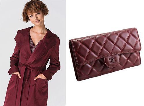 Бордовый женский клатч от Chanel