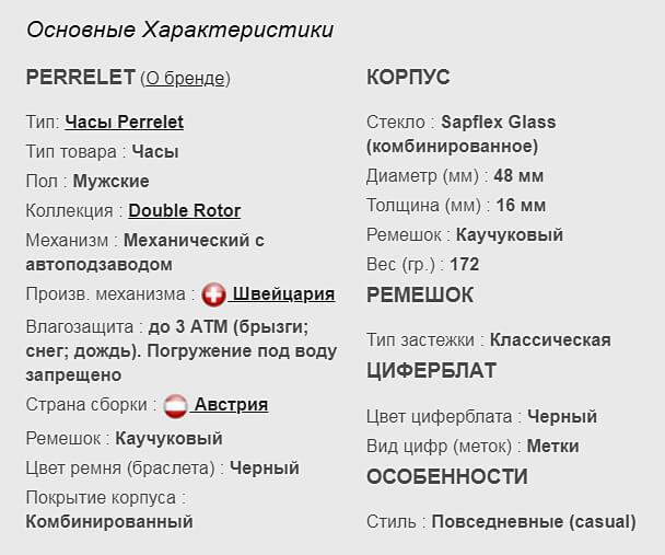 Технические параметры реплики часов Perrelet Turbine XL VEGAS Poker