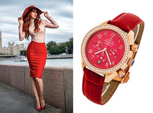 Наручные часы Omega для овна на красном кожаном ремне