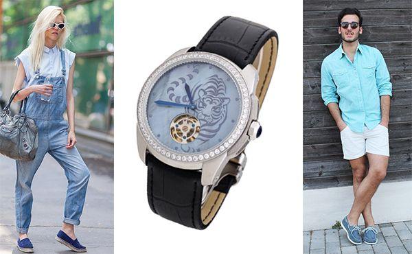 Часы Cartier голубой циферблат