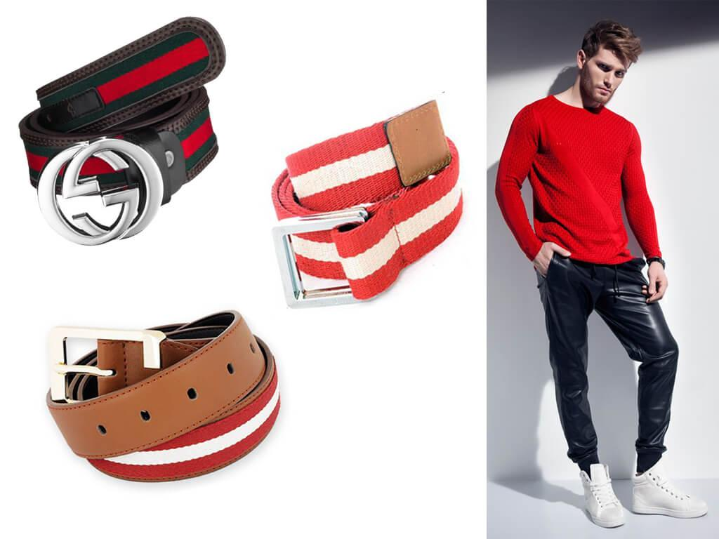 Ремни красного цвета для мужчин широко представлены в модных коллекциях самых известных мировых брендов