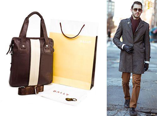 Мужская сумка Bally коричневого цвета