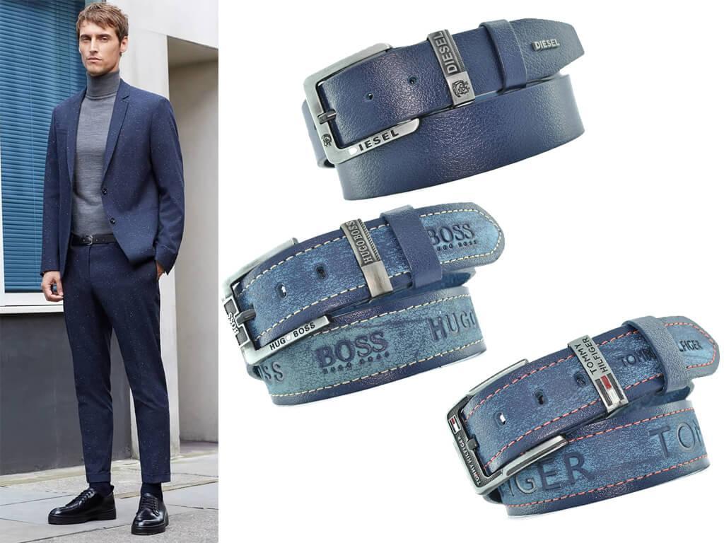 Мужские ремни синего цвета интегрируются в любой гардеробный стиль