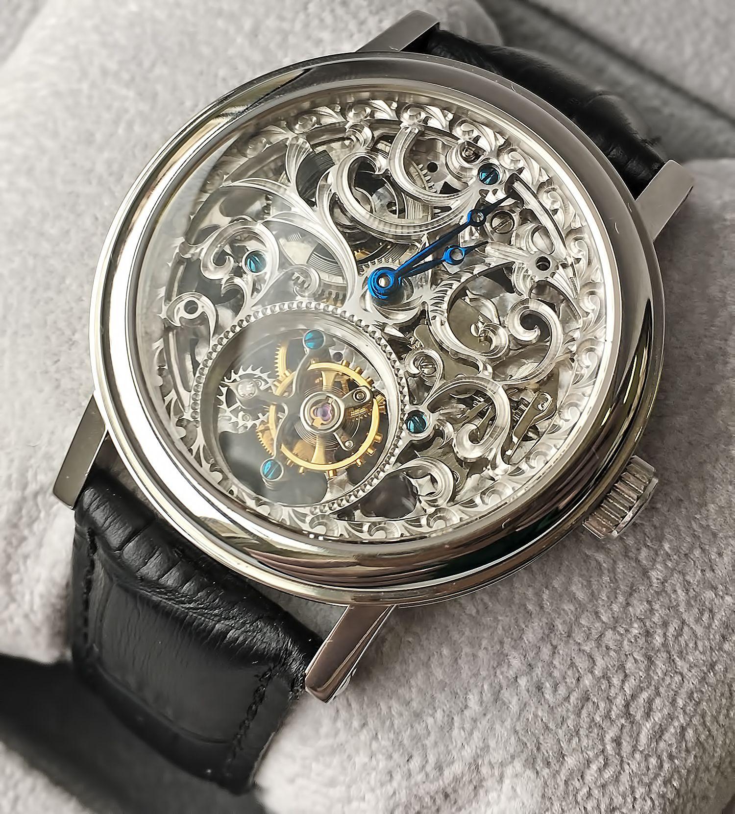 Точная копия часов Breguet Classique Skeleton Tourbillon Steel Watch