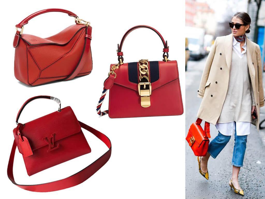Красные кожаные женские сумки