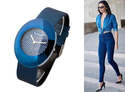 Наручные женские часы Rado синим циферблатом