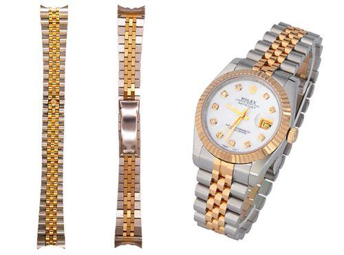 Серебристо золотой браслет для часов Rolex