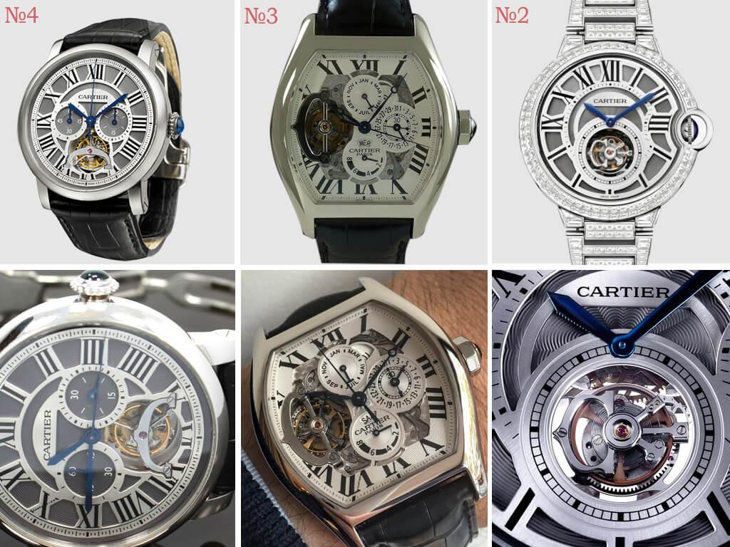 Мужские и женские часы Картье с усложнениями и бриллиантовым декором