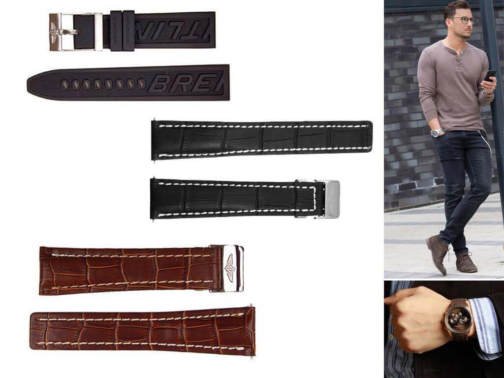 Ремешки для часов Breitling изготавливаются из таких высококачественных материалов, как натуральная кожа и каучук