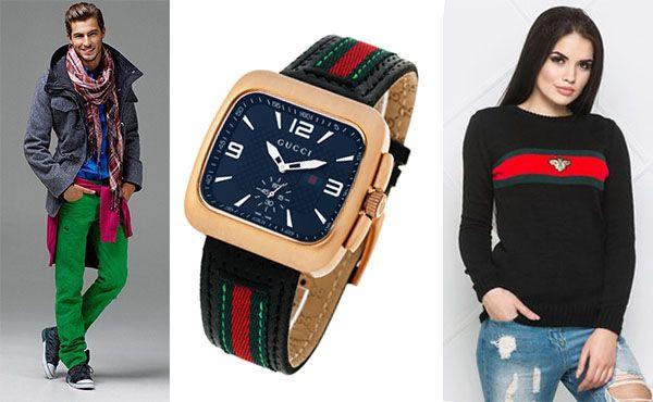 Часы Gucci с зеленым ремешком