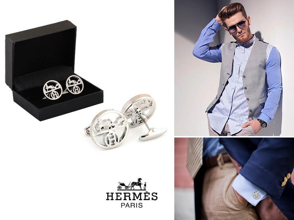 Серебристые запонки Hermes