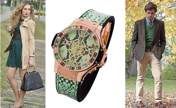Часы Hublot с зеленым циферблатом