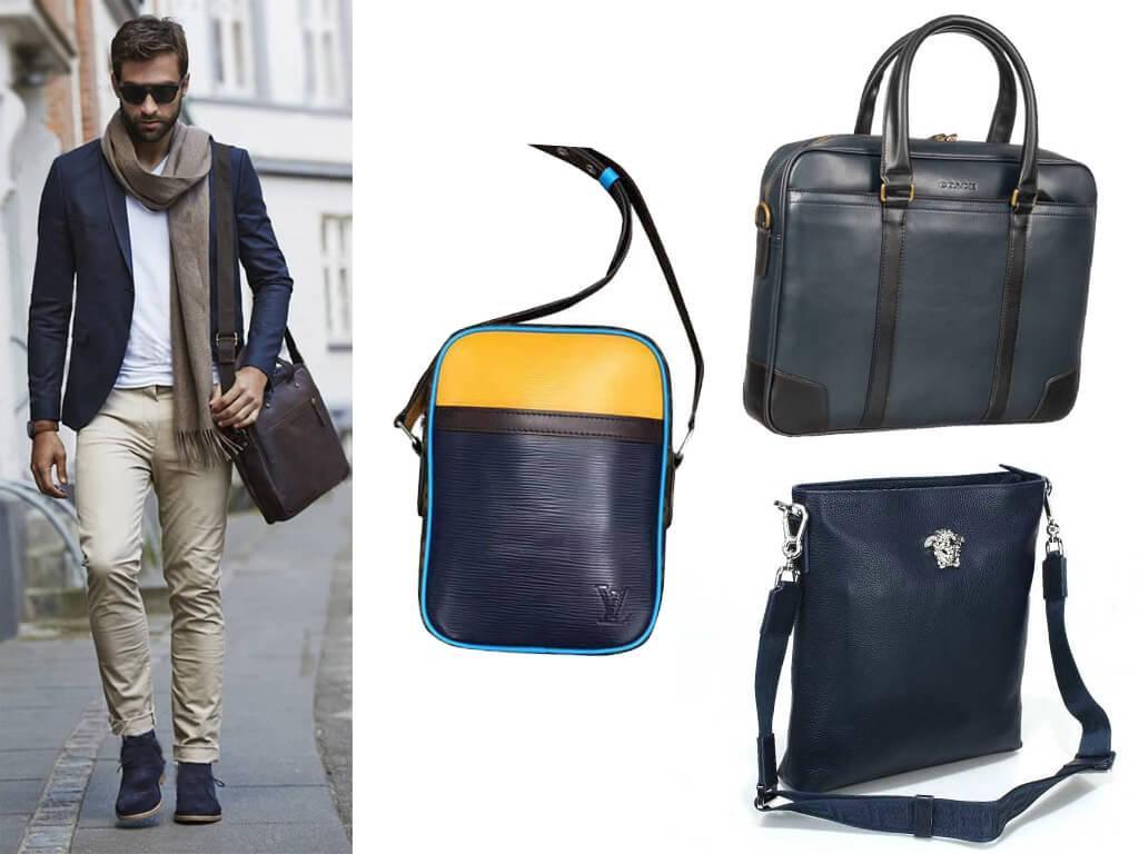 Кожаные сумки синего цвета для мужчин